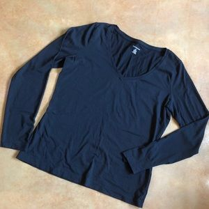 Lands End Fitted Black L/S T-shirt